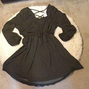 Charlotte russe 1x olive green chiffon dress